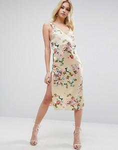 Атласное платье миди на бретельках с цветочным принтом ASOS - Мульти