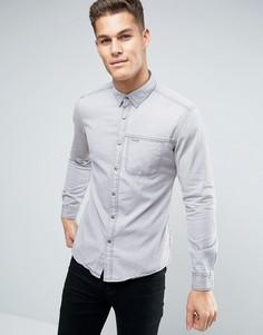 Узкая джинсовая рубашка с нагрудным карманом Esprit - Серый