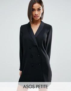 Платье в стиле смокинга ASOS PETITE - Черный