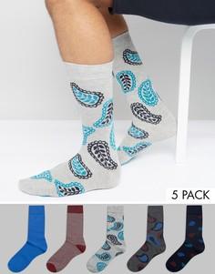 Набор из 5 пар носков с принтом пейсли Urban Eccentric - Мульти