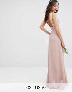 Платье макси с открытой спиной и отделкой TFNC WEDDING - Розовый
