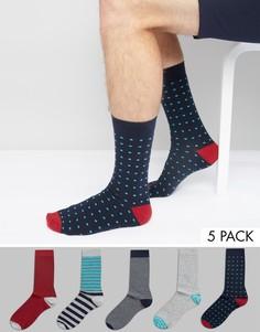 Набор из 5 пар носков в полоску и горошек Urban Eccentric - Мульти
