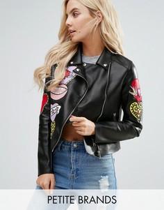 Байкерская куртка из искусственной кожи Glamorous Petite - Черный