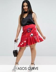 Мини-юбка с оборками и цветочным принтом ASOS CURVE - Мульти