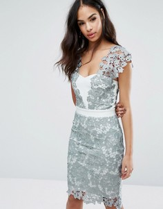 Кружевное платье миди с V-образным вырезом Paper Dolls - Серый
