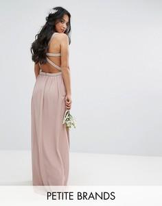 Платье макси с отделкой и декорированными лямками на спине TFNC Petite Wedding - Розовый