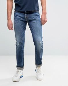 Суженные книзу узкие джинсы с отворотом Edwin ED-80 - Синий