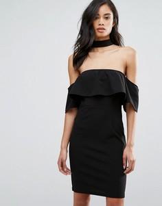 Платье с открытыми плечами и чокером Parisian - Черный