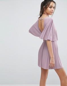 Плиссированное платье мини с открытой спиной ASOS - Фиолетовый