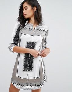 Платье-рубашка с платочным принтом Parisian - Белый