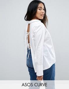 Рубашка с открытой спиной и высокими манжетами ASOS CURVE - Белый