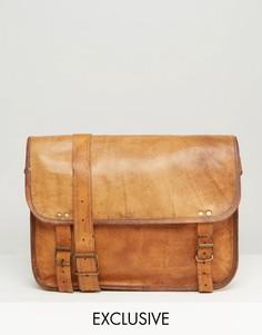 Коричневая кожаная сумка через плечо Reclaimed Vintage - Коричневый