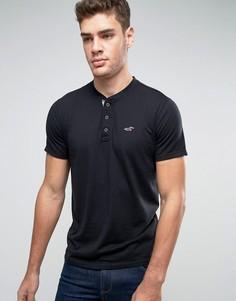 Черная футболка хенли узкого кроя Hollister Core - Черный