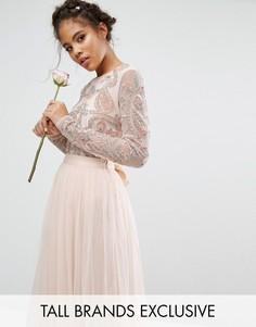 Боди из комплекта с длинными рукавами и пайетками Maya Tall - Розовый