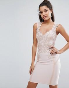 Облегающее платье с кружевной отделкой спереди Michelle Keegan Loves Lipsy - Розовый