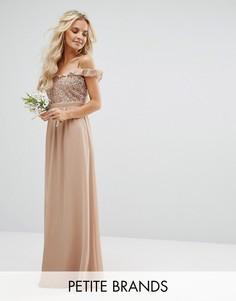 Платье макси с пайетками и открытыми плечами Maya Petite - Розовый