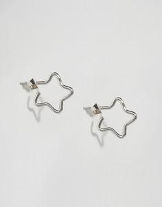 Небольшие серьги-кольца в форме звезд Pieces Livy - Серебряный