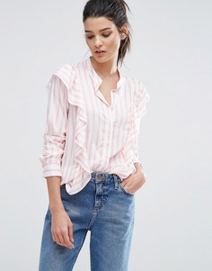 Рубашка в полоску карамельного цвета с оборками Vero Moda - Розовый