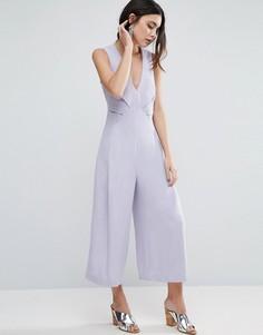 Комбинезон с юбкой-брюками и отделкой в стиле оригами ASOS - Серый