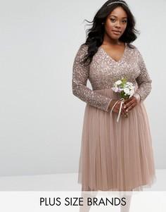 Платье миди с длинными рукавами и V-образным вырезом Lovedrobe - Серый