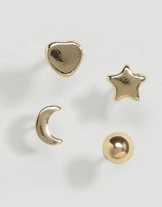 Серьги со звездами и месяцем Pieces Hinna - Золотой