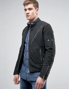 Байкерская куртка из замши и кожи Diesel L-MACKSON - Черный
