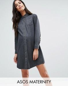 Выбеленное черное джинсовое платье-рубашка с рюшами сзади ASOS MATERNITY - Черный