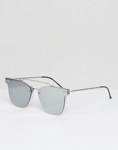 Солнцезащитные очки с двойной переносицей и зеркальными плоскими стеклами Spitfire - Серебряный
