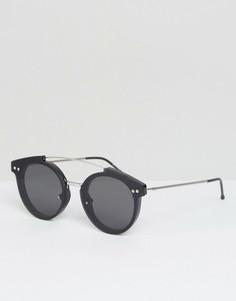 Черные круглые солнцезащитные очки с металлической планкой Spitfire - Черный