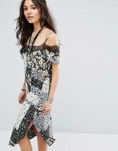 Платье-комбинация с разными принтами и кружевной отделкой Glamorous - Мульти