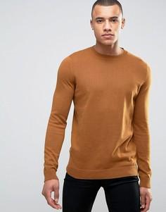 Светло-коричневый джемпер с горловиной в мелкий рубчик New Look - Рыжий