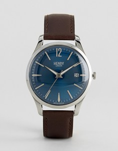 Часы с коричневым кожаным ремешком Henry London Knightsbridge - Коричневый