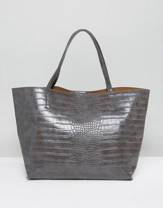 Серая сумка-тоут с эффектом крокодиловой кожи Glamorous - Серый