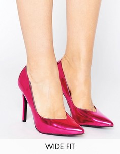 Туфли-лодочки цвета металлик для широкой стопы New Look - Розовый