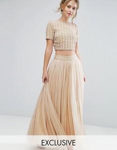 Комбинируемая юбка из тюля с декорированной талией Lace & Beads - Кремовый
