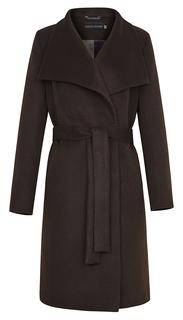 Полушерстяное длинное пальто с поясом La Reine Blanche