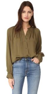Блуза со складками и выполненными вручную стежками Vince