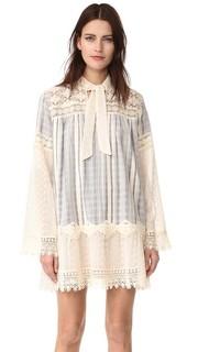 Кружевное платье с вышивкой Strip Anna Sui