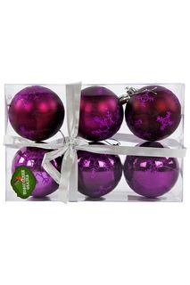 Н-р шаров 7 см, 6 шт., фиолет. НОВОГОДНЯЯ СКАЗКА