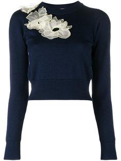 свитер с цветочной аппликацией  Roksanda
