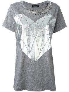 футболка с принтом сердца и заклепками Twin-Set