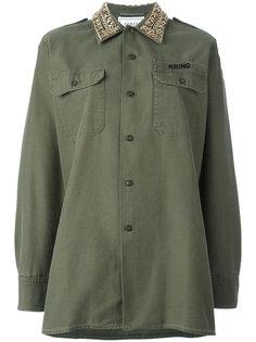 рубашка в стиле милитари с декорированным воротником Forte Couture