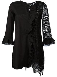 блузка с рюшами и кружевной панелью Twin-Set