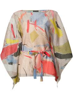 printed belted blouse  Josie Natori