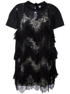 кружевное платье с рюшами Twin-Set