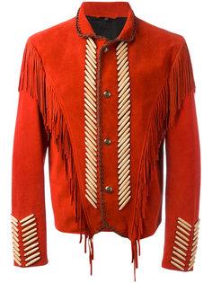 куртка с вышивкой и бахромой Roberto Cavalli