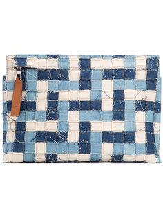 denim patchwork clutch Loewe