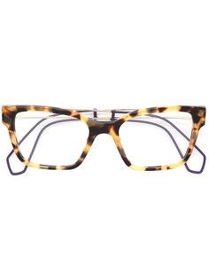 очки с квадратной оправой и черепашьим узором Miu Miu Eyewear