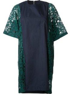 платье с кружевными вставками Sacai
