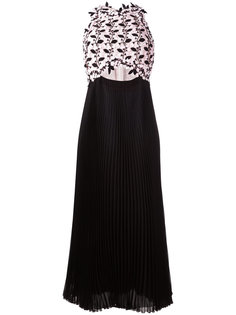 плиссированное платье с кружевным топом Giambattista Valli